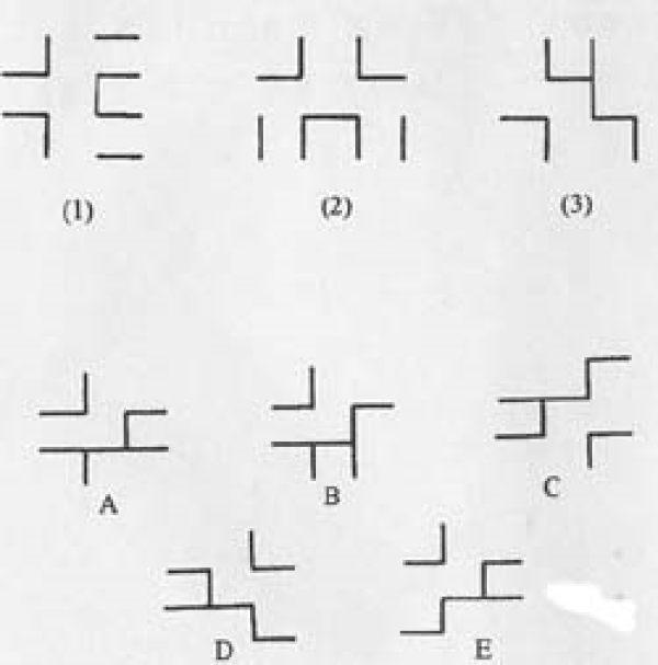 根据(1)和(2)的逻辑关系,(3)和下面那一个图形相似?