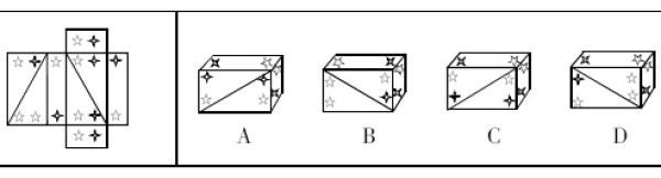 左边图形折叠起来将得到选项中哪个图形?